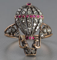 A French Silver, Diamond, and Ruby Ballooning Ring, first half 19th century Marks: (eagle's head), (obscured mark)