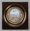 Decorative Arts, French, A French Miniature Framed Watercolor Painting with Balloon Motif:Ascent at Tuileries Palace, late 18th century. 2-3...