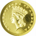 Proof Gold Dollars: , 1884 G$1 PR68 Cameo NGC. Doubled Date. Breen-6107. The date displays dramatic doubling under a loupe. The mint's production...