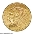 Indian Quarter Eagles: , 1911-D $2 1/2 MS64 PCGS. All details, including the sometimes ill-defined mintmark, are very well struck on this attractive...