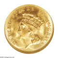 Three Dollar Gold Pieces: , 1878 $3 MS65 NGC. Hints of honey color adorn the nearly undisturbedfields of this radiant straw-gold Gem. The strike is sh...
