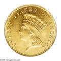 Three Dollar Gold Pieces: , 1885 $3 MS64 PCGS. Typically bold with splendid reddish-goldencolor and prooflike tendencies that are more-or-less expecte...