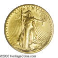High Relief Double Eagles: , 1907 $20 High Relief, Wire Rim MS62 PCGS. While High Reliefs are an integral part of every Heritage Signature Sale, the sha...