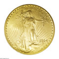 Saint-Gaudens Double Eagles: , 1914 $20 MS65 PCGS. The 1914 Philadelphia issue of theSaint-Gaudens double eagle had a low original mintage of just95,320...