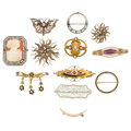 Estate Jewelry:Brooches - Pins, Diamond, Multi-Stone, Gold Brooches . ... (Total: 12 Items)