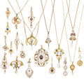 Estate Jewelry:Pendants and Lockets, Diamond, Multi-Stone, Cultured Pearl, Synthetic Stone, Gold,Gold-Filled Lavaliers. ... (Total: 20 Items)