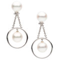 Estate Jewelry:Earrings, South Sea Cultured Pearl, White Gold Earrings. ...