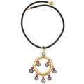 Estate Jewelry:Necklaces, South Sea Cultured Pearl, Ruby, Gold Pendant-Necklace. ...