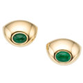 Estate Jewelry:Earrings, Emerald, Gold Earrings, Poiray. ...