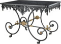 Furniture : French, A French Wrought Iron Pastry Table with Marble Top, first half 20thcentury. 30-3/8 h x 44 w x 26 d inches (77.2 x 111.8 x 6... (Total:2 Items)