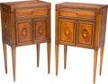 Furniture : Continental, A Pair of Italian Neoclassical Mahogany, Walnut, Maple andMarquetry Inlaid Petit Commodes, probably Lombardy, 19th century...(Total: 2 Items)
