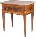 Furniture , A Continental Marble-Topped Mahogany and Fruitwood Inlaid Table. 29-1/4 h x 28-1/2 w x 18 d inches (74.3 x 72.4 x 45.7 cm). ...