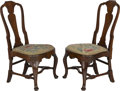 Furniture : English, A Pair of Queen Anne Walnut Side Chairs, 18th century. 40 h x 21 w x 20-1/2 d inches (101.6 x 53.3 x 52.1 cm). ... (Total: 2 Items)