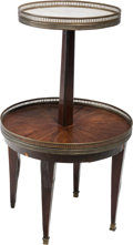 Furniture : French, A French Empire Two-Tiered Walnut Desserte Stand, 19th century.30-1/4 inches high (76.8 cm). ...