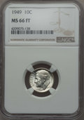 Roosevelt Dimes, 1949 10C MS66 Full Bands NGC. NGC Census: (47/13). PCGS Population: (59/17). Mintage 30,940,000. ...