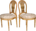 Furniture : French, A Pair of Louis XVI Giltwood Montgolfier-Back Chairs, 18th century.36 h x 19 w x 18-1/8 d inches (91.4 x 48.3 x 46.0 cm). ... (Total:2 Items)