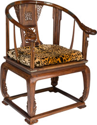 A Chinese Carved Rosewood Horseshoe Chair 39 h x 29-1/2 w x 22-1/2 d inches (99.1 x 74.9 x 57.2 cm)  PROPERT