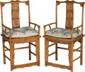 Asian:Chinese, A Pair of Chinese Carved Hardwood Chairs, 20th century. 43-1/2 h x22 w x 17-3/4 d inches (110.5 x 55.9 x 45.1 cm). PROPER... (Total:4 Items)