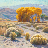 Tim Solliday (American, b. 1952) Desert Landscape Oil on canvas 30 x 30 inches (76.2 x 76.2 cm)