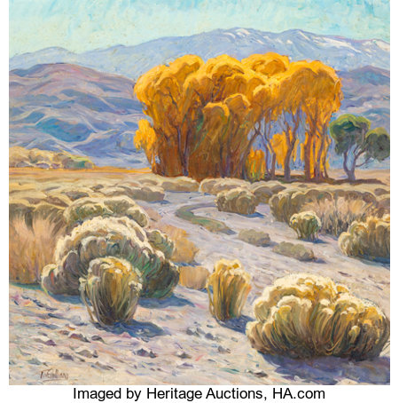 Tim Solliday (American, b. 1952)Desert LandscapeOil on canvas30 x 30 inches (76.2 x 76.2 cm)Signed lower left: ...