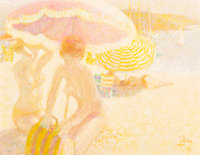 Louis P. Fabien (French, b. 1924) Nudes on the Beach, 1976 Oil on canvas 20 x 26 inches (50.8 x 6