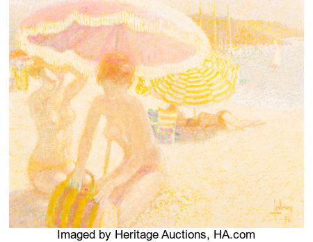 Louis P. Fabien (French, b. 1924)Nudes on the Beach, 1976Oil on canvas20 x 26 inches (50.8 x 66 cm)Signed and da...