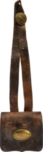 Military & Patriotic:Civil War, Rare Civil War Volunteer Militia of Maine Russet Brown Pattern of 1839 .69 Caliber Cartridge Box and Shoulder Belt....