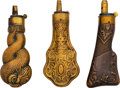 Ammunition, Lot of Three Fine English Collector Flasks.... (Total: 3 Items)