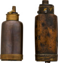 Ammunition, Lot of Two Brass Powder Flasks with Compartments.... (Total: 2Items)