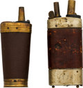 Ammunition, Lot of Two Leather Wrapped Powder Flasks.... (Total: 2 Items)