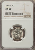 Jefferson Nickels, 1942-S 5C MS66 NGC. NGC Census: (2392/1340). PCGS Population: (2010/109). Mintage 32,900,000. ...