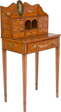 Furniture , An English Adam-Style Painted Satinwood Lady's Writing Desk, 19th century. 47-1/8 h x 23-1/2 w x 15-1/4 d inches (119.7 x 59...