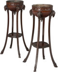 Furniture , A Pair of George II-Style Carved Mahogany Figural Antheniennes, 19th century . 43-1/4 inches high x 26-1/2 inches wide (109.... (Total: 2 Items)