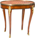 Furniture : French, A Louis XVI-Style Parquetry Inlaid and Gilt Bronze-Mounted SideTable, 19th century. 25-1/4 h x 25-1/2 w x 18-3/4 d inches (...