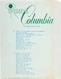 "Music Memorabilia:Memorabilia, Bob Dylan ""Subterranean Homesick Blues"" Promotional Lyric Sheet(Columbia, 1965)...."