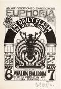 Music Memorabilia:Posters, Daily Flash/Rising Sons Avalon Ballroom Concert Handbill FD-7Signed by Artist Wes Wilson (Family Dog, 1966)....