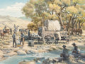 Fine Art - Painting, American:Contemporary   (1950 to present)  , Russ Vickers (American, b.1923). Noon Camp. Oil on canvas.36 x 48 inches (91.4 x 121.9 cm). Signed lower right: Russ...