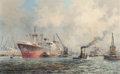 Fine Art - Painting, European:Modern  (1900 1949)  , Marinus Johannes de Jongere (Dutch, 1912-1978). HarborScene. Oil on canvas. 20 x 31-3/4 inches (50.8 x 80.6 cm).Signed...
