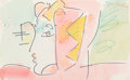 Fine Art - Work on Paper:Drawing, Peter Max (American, b. 1937). Female Profile. Watercolor,marker, and crayon on paper. 7 x 11-1/2 inches (17.8 x 29.2 c...