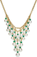 Estate Jewelry:Necklaces, South Sea Cultured Pearl, Emerald, Gold Necklace, Assael. ...