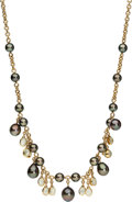Estate Jewelry:Necklaces, South Sea Cultured Pearl, Moonstone, Gold Necklace, Assael. ...
