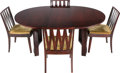 Furniture , Paul Frankl (Austrian, 1886-1958 ) . Dining Table and Chairs, Late 20th century. Mahogany, velvet. 29 x 53-1/2 x 68-1/2 ... (Total: 6 Items)