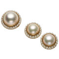 Estate Jewelry:Suites, Mabe Pearl, Cultured Pearl, Gold Suite . ... (Total: 2 Items)