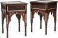 Furniture : Continental, A Pair of Moorish Mother-of-Pearl Inlaid Hardwood Side Tables, 20th century. 33 h x 22-1/2 w x 22-1/2 d inches (83.8 x 57.2 ... (Total: 2 Items)