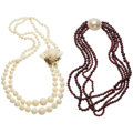 Estate Jewelry:Necklaces, Multi-Stone, Diamond, Mabe Pearl, Gold Necklaces. ... (Total: 2Items)