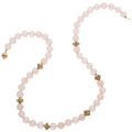 Estate Jewelry:Necklaces, Rose Quartz, Gold, Yellow Metal Necklace. ...