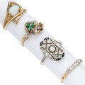 Estate Jewelry:Rings, Diamond, Multi-Stone, Gold Rings . ... (Total: 4 Items)