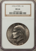 Eisenhower Dollars, 1976-D $1 Type One MS66 NGC. NGC Census: (274/7). PCGS Population: (330/6). Mintage 21,048,710. ...