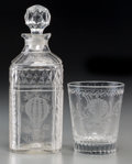Decorative Arts, British:Other , A Cut-Glass and Acid-Etched Decanter and Tumbler with BallooningMotif, 19th century. 7-7/8 inches high (20.0 cm). PROVENA...(Total: 2 Items)