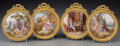 Ceramics & Porcelain, Four French Enameled and Gilt Bronze Plaques after François Boucher, late 19th-early 20th century. 7-5/8 inches high x 6-3/4... (Total: 4 Items)